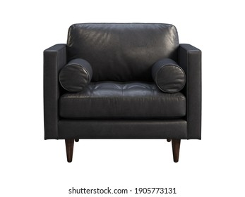 Scandinavian leather chair. Black leather upholstery armchair with pillows on white background. Mid-century, Loft, Chalet, Scandinavian interior. 3d render