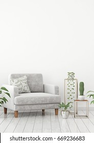 Scandinavian livingroom interior wall mock up with gray velvet armchair and plants on white wall background with free space on top. 3d rendering.