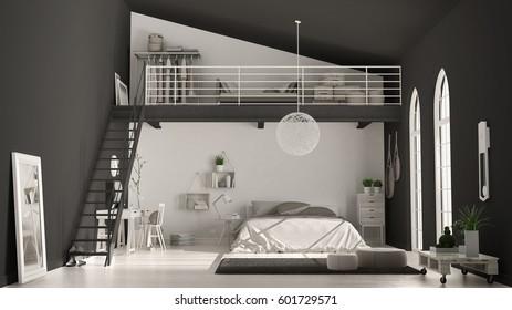 Scandinavian Minimalist Loft Bedroom Home Office Stock Illustration Extraordinary Bedroom Home Office Minimalist Property