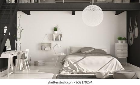 Scandinavian Minimalist Loft Bedroom Home Office Stock Illustration Fascinating Bedroom Home Office Minimalist Property