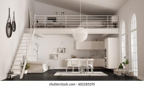 Scandinavian Minimalist Loft Oneroom Apartment White ...