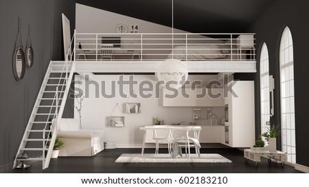 Scandinavian Minimalist Loft Oneroom Apartment White Stock Magnificent 1 Bedroom Loft Minimalist Collection