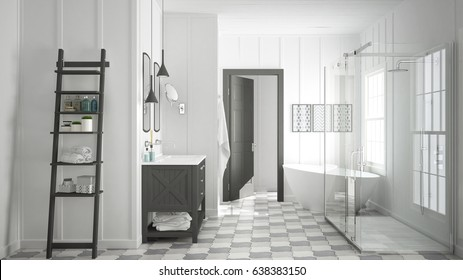 Scandinavian minimalist white and gray bathroom, shower, bathtub and decors, classic vintage interior design, 3d illustration
