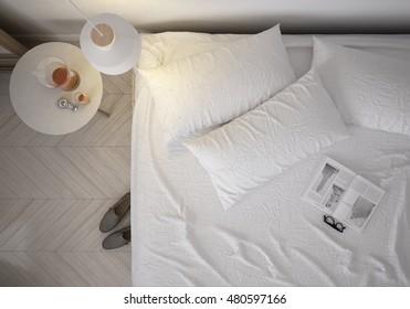 Scandinavian minimalistic bedroom top view,  3d render