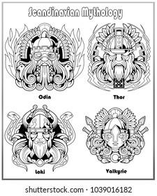Scandinavian mythology set of images
