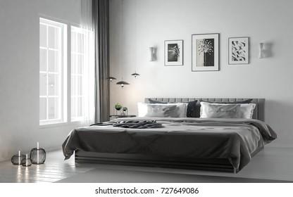 Scandinavian style bedroom with gray design on hardwood white colored floor, studio mock-up, 3D rendering, 3D illustration