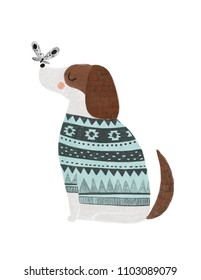 Scandinavian style illustration. Perfect for nursery poster. Dog with sweater and butterfly