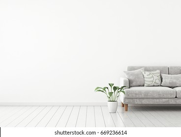 Scandinavian style interior wall mock up with gray velvet sofa and pillows on white wall background with free space on left. 3d rendering.