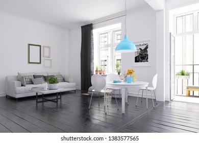 Scandinavian style living room design. 3d rendering concept