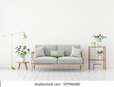 Scandinavian style livingroom with fabric sofa, pillows, golden lamp and green plants on white wall background. 3d rendering.