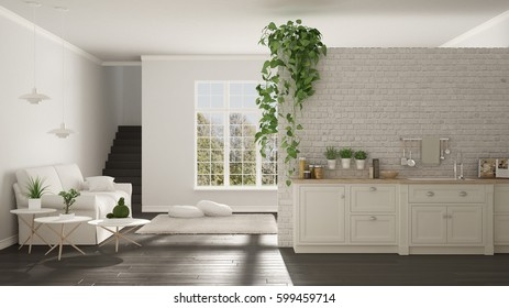 Scandinavian white and gray minimalist living with kitchen, open space, one room apartment, classic interior design, 3d illustration