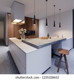Scandinavian white kitchen in evening light with decor, minimalistic interior design, 3d rendering