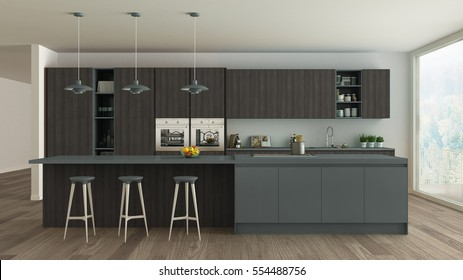 Scandinavian white kitchen with wooden and gray details, minimalistic interior design, 3d illustration