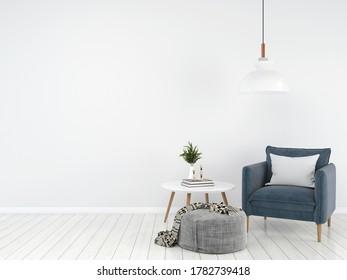 Scandinavian White Living Room Interior With Blue Sofa,3D Render,Background Mock up Concept Design