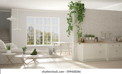 Scandinavian white minimalist living with kitchen, open space, one room apartment, classic interior design, 3d illustration