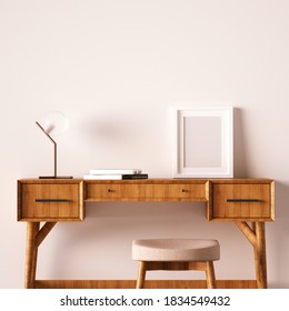Scandinavian Work Desk with Stool and Small Frame Mockup on Desktop. Bright Colors and Minimal Shapes with Empty Frame Mockup is the Best for Art, Print and Wallpaper Mockup. 3D Rendering