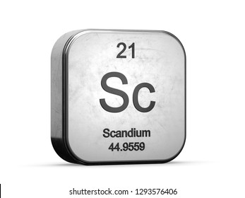 Scandium element from the periodic table series icons. Metallic icon 3D rendered on white background