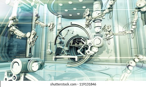 Scanner system room with optical flares. 3d render / MRI future room