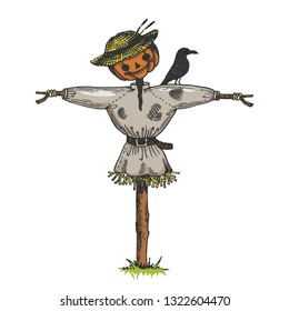 Scarecrow doll color sketch engraving raster illustration. Scratch board style imitation. Hand drawn image.