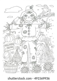 Scarecrow halloween coloring page
