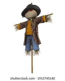 Scarecrow isolated on white background. 3D rendering