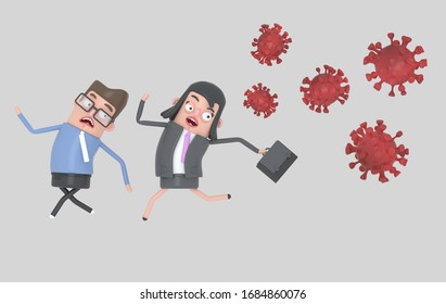 Scared business couple runs because behind come some very contagious viruses covid-19. Isolated. 3d illustration.
