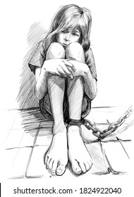 Scared kid with leg in chains. anti human trafficking campaign. black and white pencil drawing style illustration