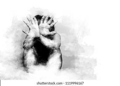 scared man lift hand up for say stop, to protect himself. anti human trafficking campaign. black and white color painting brush style with copy space for campaign poster or flyer