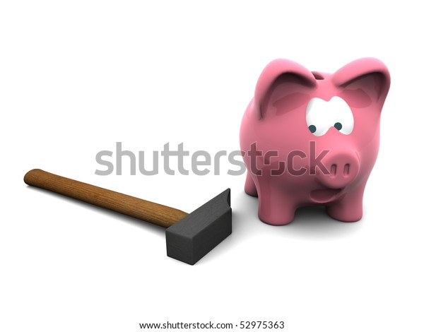 scared piggy bank with hammer