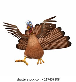 Scared Toon Turkey: A cartoon turkey running scared with his wings in the air. Isolated on a white background.