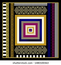 scarf colorful squares ethnic patterns houndstooth  background