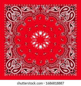Scarf paisley bandana print with white cashmere elements and red background.