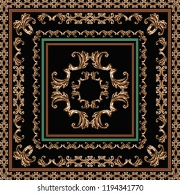 Scarf pattern . scarf design baroque and geometric. Bandana, floral, baroque