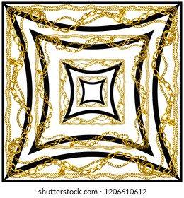 Scarf pattern . scarf design baroque and geometric. Bandana