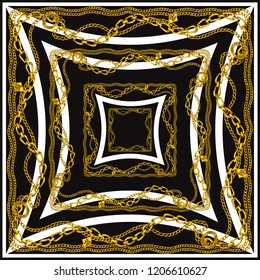 Scarf pattern . scarf design baroque and geometric. Bandana