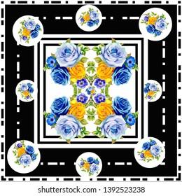 Scarf pattern . scarf design baroque and geometric. Bandana - Illustration - İllüstrasyon flovers