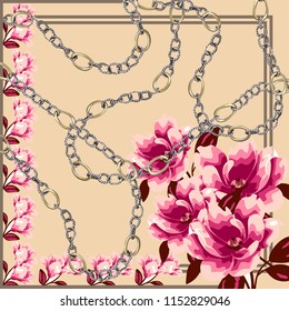 Scarf pattern . scarf design colorful and chain. Flowers pattern