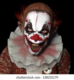 Scarier Clown 1: A scarier clown with sharp pointy teeth glaring at you. Isolated on a black background.