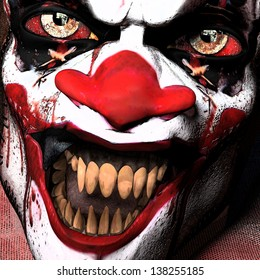 Scarier Clown Close-up: A closeup of a scarier clown with sharp pointy teeth glaring at you.