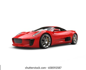 Scarlet red elegant sports car - 3D Illustration