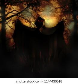 scarry demon in black coat 3d illustration