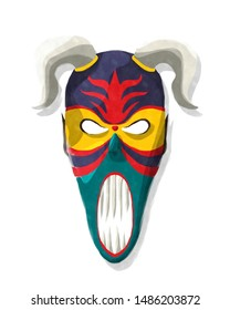 Scarry horned tribal mask in watercolor style over white