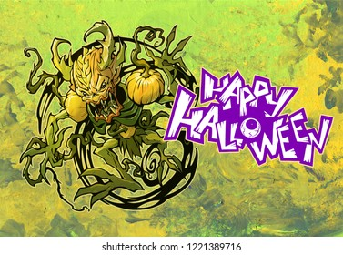Scart cartoon original drawing of a nature spirit shaman. Bogy creature with sharp claws, scary pumpkin shoulders and vines growing from his hands. Hand drawn symbol of Halloween and Samhain