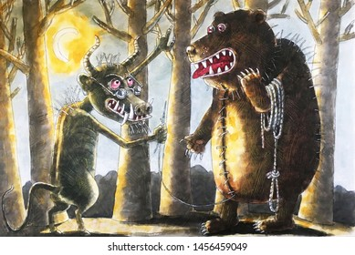 scary beasts, devil and bear, fairy tales on halloween, watercolor, illustration
