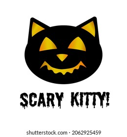 顔に輝く恐ろしい黒猫、おかしな彫りのハロウィーン猫モンスター