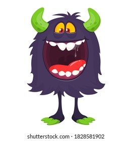 Scary cartoon monster. Halloween illustration of monster creature with funny expression