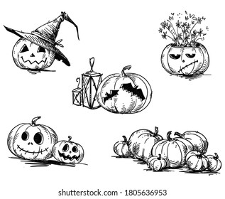 Scary carved Halloween pumpkins. Hand drawn.