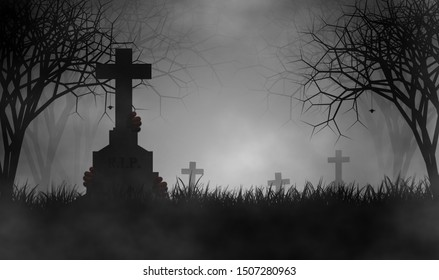 Scary cemetery in creepy forest with devil hands on tombstone and some spiders in foggy day.