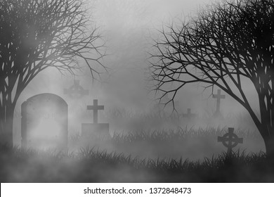 Scary cemetery in creepy forest illustration halloween concept design background with grass field, crosses, tombs, graveyard, fog, and creepy trees.