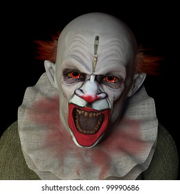 Scary clown glaring at you with red eyes. Isolated on a black background.